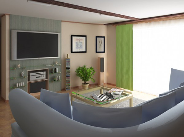 интерьер комнаты с нишей в стене