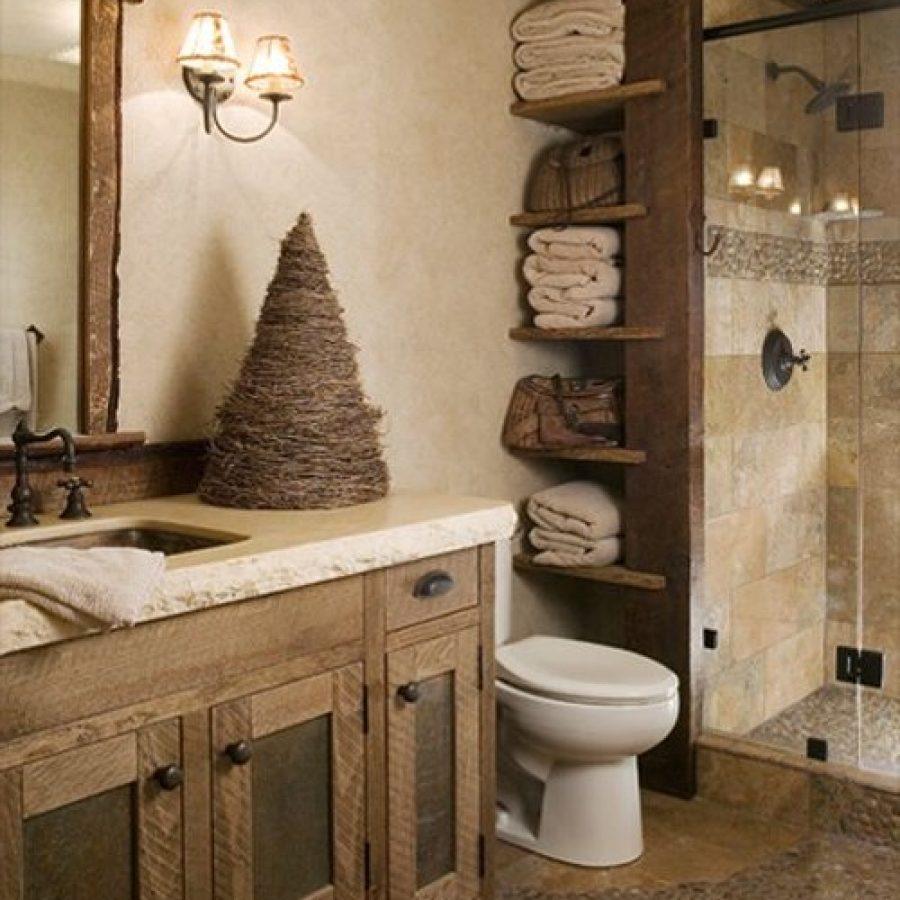 деревенский грубый идеальный стиль для ванной в загородном доме