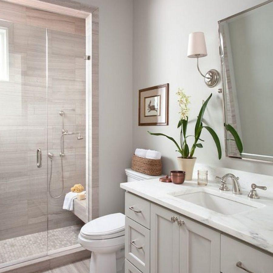 белый и нейтральный оттенки в ванной