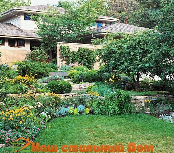 ландшафтный дизайн сада со склоном