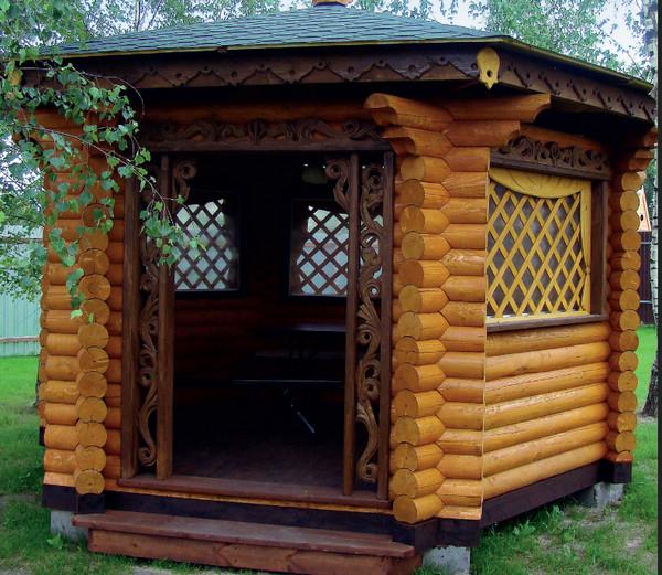беседка для сада, деревянные срубы