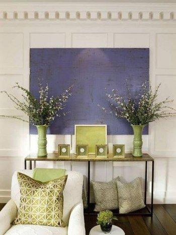 интерьер в синем и зеленом цвете
