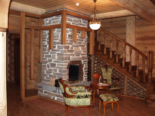 деревянный дом, печь