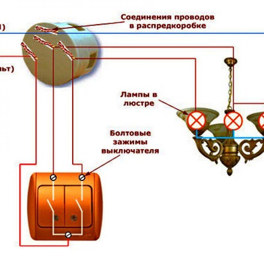 Электросхема подключения люстры