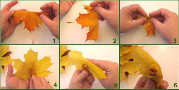 Как сделать цветок с кленового листья