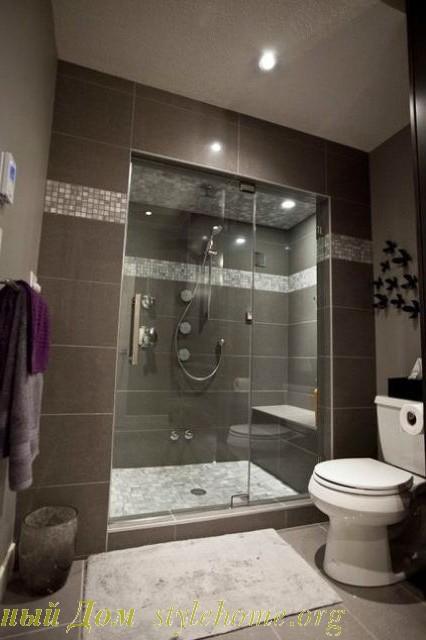 современный стиль в серой ванной комнате