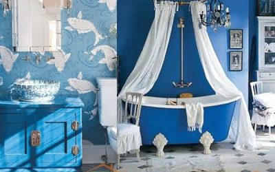 Морской стиль интерьера ванной комнаты
